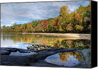 St Lawrence River Canvas Prints - Autumn at Potters Beach Canvas Print by Lori Deiter