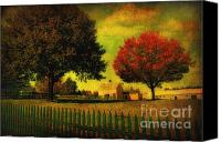 Textured Landscape Canvas Prints - Autumn at the Farm Canvas Print by Gina Cormier