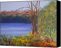 Pastel Landscape Canvas Prints - Autumn at the Lake Canvas Print by David Patterson