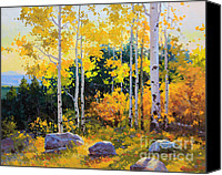 Leaves Painting Canvas Prints - Autumn beauty of Sangre de Cristo mountain Canvas Print by Gary Kim