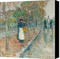 Raining Canvas Prints - Autumn Boulevard in Paris Canvas Print by Childe Hassam