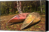 Rural Scenes Canvas Prints - Autumn Canoes Canvas Print by Debra and Dave Vanderlaan