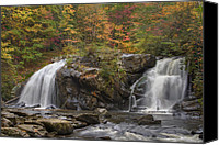 Autumn Scenes Canvas Prints - Autumn Cascades Canvas Print by Debra and Dave Vanderlaan