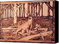 Wood Pyrography Canvas Prints - Autumn Deer Canvas Print by Andrew Siecienski