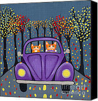 Tabby  Painting Canvas Prints - Autumn Drive Canvas Print by Ryan Conners