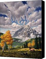 Deer Canvas Prints - Autumn Echos Canvas Print by Jerry LoFaro