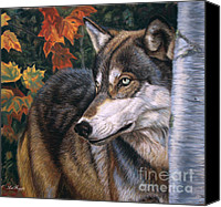 Wolf Pastels Canvas Prints - Autumn Eyes Canvas Print by Deb LaFogg-Docherty