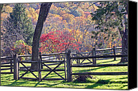 Fences Canvas Prints - Autumn Fences Canvas Print by David Rucker
