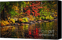 Forest Canvas Prints - Autumn forest and river landscape Canvas Print by Elena Elisseeva