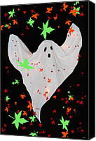 Haunted House Mixed Media Canvas Prints - Autumn Ghost Canvas Print by Debra     Vatalaro