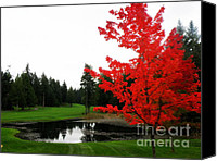 Fall Glass Art Canvas Prints - Autumn Golf Course Canvas Print by Tanya  Searcy