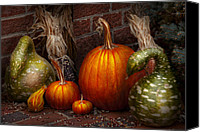 Halloween Scene Canvas Prints - Autumn - Gourd - Family get together Canvas Print by Mike Savad