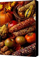 Basket Photo Canvas Prints - Autumn harvest  Canvas Print by Garry Gay