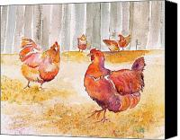 Rural Scenes Tapestries - Textiles Canvas Prints - Autumn Hens Canvas Print by Carolyn Doe