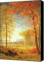 Turning Painting Canvas Prints - Autumn in America Canvas Print by Albert Bierstadt