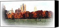 Cities Mixed Media Canvas Prints - Autumn in New York Canvas Print by Spencer McKain
