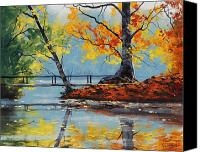 Autumn Canvas Prints - Autumn Lake Canvas Print by Graham Gercken