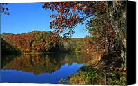 Indiana Autumn Canvas Prints - Autumn Lake Canvas Print by Randall Tishner