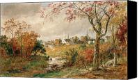 Turning Painting Canvas Prints - Autumn Landscape Canvas Print by Jasper Francis Cropsey