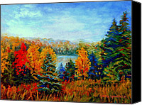 Country Scenes Painting Canvas Prints - Autumn Landscape Quebec Red Maples And Blue Spruce Trees Canvas Print by Carole Spandau