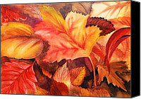 Thanksgiving Art Canvas Prints - Autumn Leaves Canvas Print by Irina Sztukowski