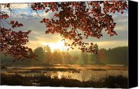 Harvard Canvas Prints - Autumn Morning at Harvard Pond Canvas Print by John Burk