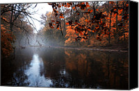 Fairmount Park Canvas Prints - Autumn Morning by Wissahickon Creek Canvas Print by Bill Cannon