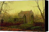 Manor Painting Canvas Prints - Autumn Morning Canvas Print by John Atkinson Grimshaw