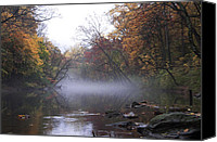 Valley Green Canvas Prints - Autumn Morning on the Wissahickon Canvas Print by Bill Cannon