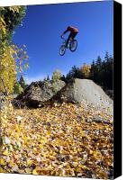Biking Canvas Prints - Autumn mountain bike in Whistler Canvas Print by Pierre Leclerc
