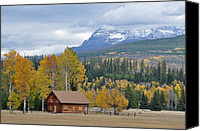Fences Canvas Prints - Autumn Mountain Cabin in Glacier Park Canvas Print by Bruce Gourley