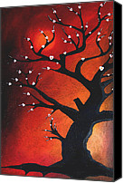 Oil Wine Canvas Prints - Autumn Nights - Abstract Tree Art by Fidostudio Canvas Print by Tom Fedro - Fidostudio