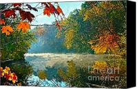 Indiana Autumn Canvas Prints - Autumn on the White River I Canvas Print by Julie Dant