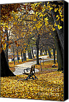 Park Benches Canvas Prints - Autumn park in Toronto Canvas Print by Elena Elisseeva