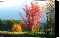 Photo Manipulation Pastels Canvas Prints - Autumn Red And Yellow Canvas Print by Smilin Eyes  Treasures