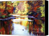 Autumn Leaves Canvas Prints - Autumn Reflections Canvas Print by David Lloyd Glover