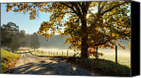Fence Canvas Prints - Autumn Road Canvas Print by Bill  Wakeley
