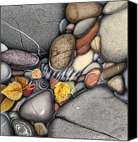 Lake Canvas Prints - Autumn Stones Canvas Print by JQ Licensing