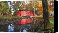 Indiana Autumn Canvas Prints - Autumn Sunrise Bridge Canvas Print by Margie Wildblood