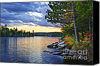 Pines Canvas Prints - Autumn sunset at lake Canvas Print by Elena Elisseeva