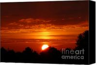 Indiana Autumn Canvas Prints - Autumn Sunset Canvas Print by Susan Olga Linville