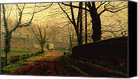Grimshaw Canvas Prints - Autumn Sunshine Stapleton Parknear Pontefract  Canvas Print by John Atkinson Grimshaw