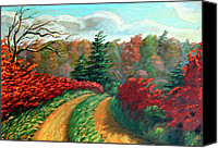 Winter Landscape Paintings Canvas Prints - Autumn Trail Canvas Print by Otto Werner