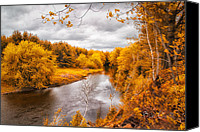 Foliage Canvas Prints - Autumn White Mountains Maine Canvas Print by Bob Orsillo
