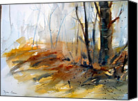 Ontario Mixed Media Canvas Prints - Autumn Woods Canvas Print by Myra Evans