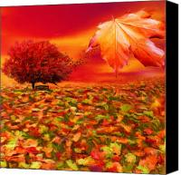 Maple Trees Digital Art Canvas Prints - Autumnal Scene Canvas Print by Lourry Legarde