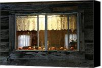 Cabin Window Canvas Prints - Autumnal Window Canvas Print by Nina Fosdick