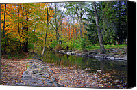Creek Bed Canvas Prints - Autumns Splendor Canvas Print by Kay Novy