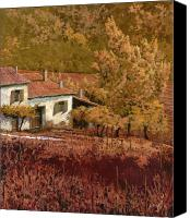 Vineyard Canvas Prints - Autunno Rosso Canvas Print by Guido Borelli