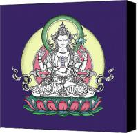 Buddhist Drawings Canvas Prints - Avalokiteshvara Canvas Print by Carmen Mensink